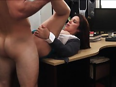 Milf strokes load of shit with..