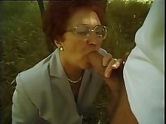 Granny Susanne Sucks bent over..