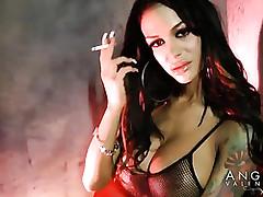 Angelina Valentine is smoking..