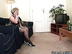 Ugly granny toying at the..